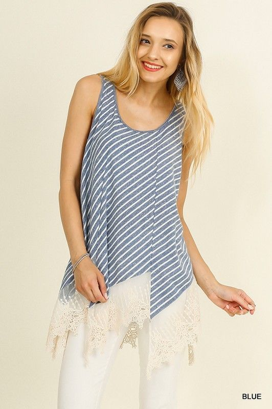 a5939819dc7 Umgee USA Striped Blue/White Sleeveless Top With Lace Trim S M ...