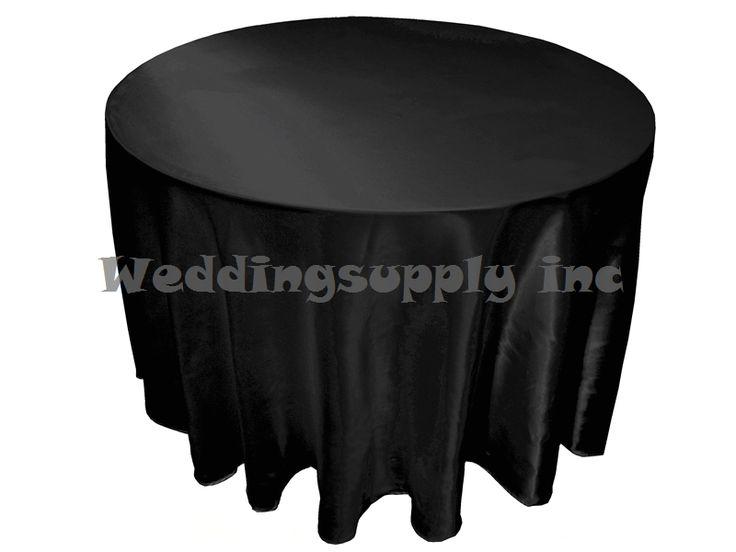20 pcs Cheap Premium 108''(275cm) Round Black Satin Table cloths for Sales Cheap Tablecloths for wedding free shipping Bulk Sale US $184.00