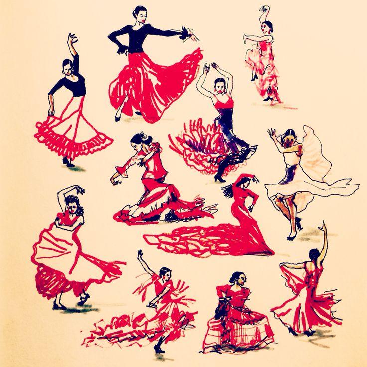 Fandango. Flamenco by Marie Åhfeldt - Mås Illustra #illustration #dance #flamenco