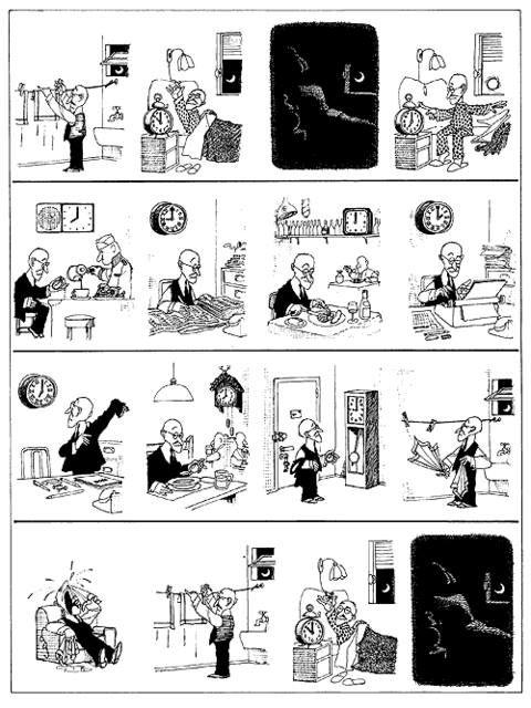 Explica la rutina de este señor siguiendo las viñetas del genial Quino