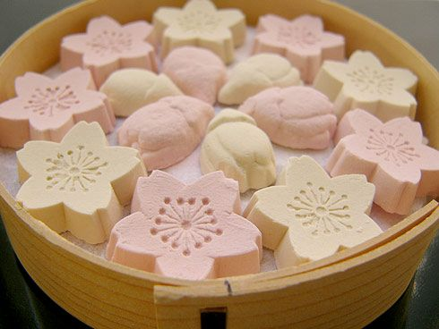 Cherry-blossom-in-bloom-and-blub shaped dry #sweets from #Japan.