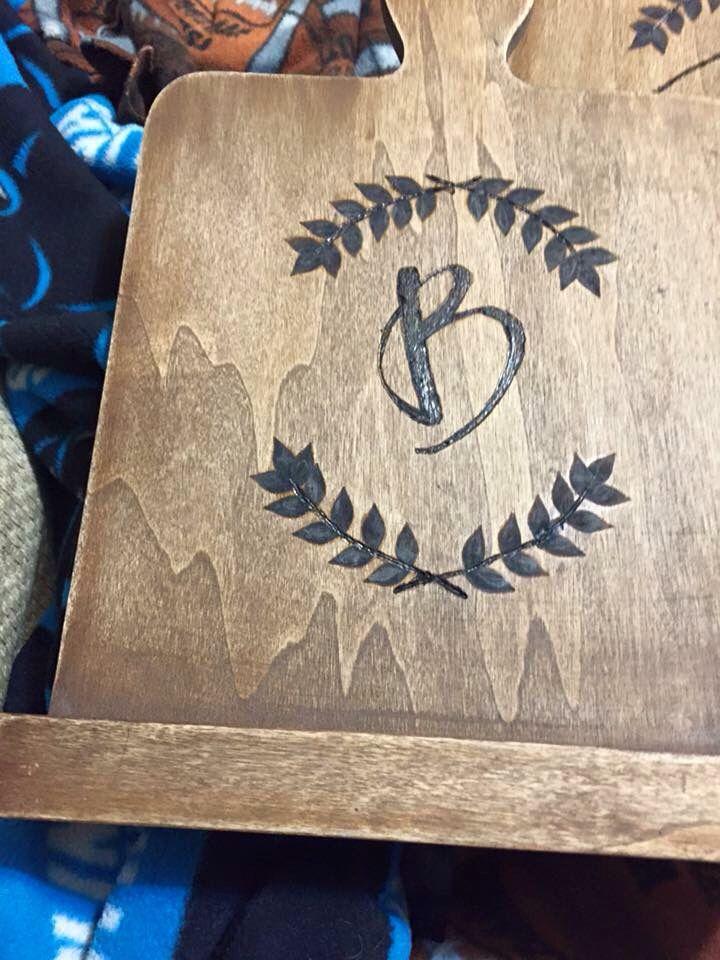 wood burning initial Laurel cutting board