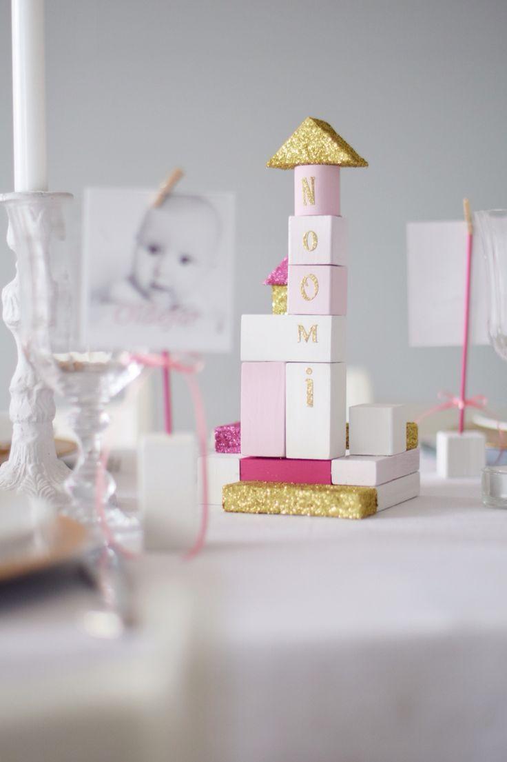 Pink baptism dåp cute diy  gold centerpiece bricks klosser