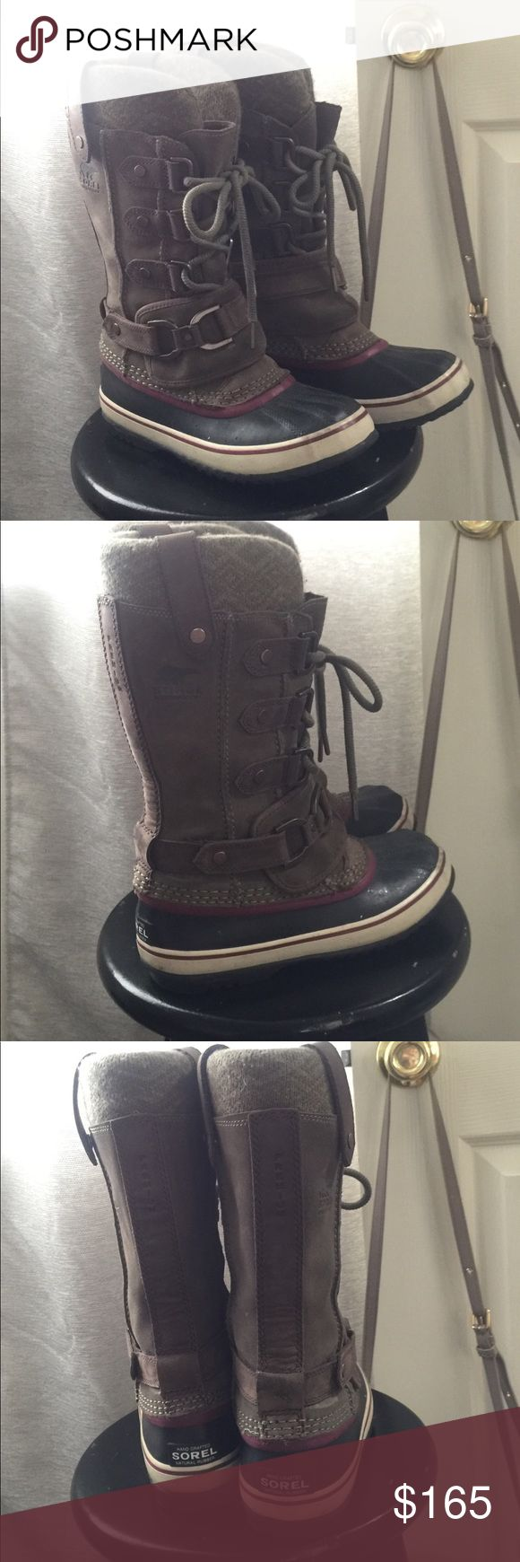 Premium Sorel snow boots 💕 Waterproof snow boots, suede uppers with removable, washable liners. Warmth rating to -20. In good used condition, for heavy snow. Sorel Shoes Winter & Rain Boots