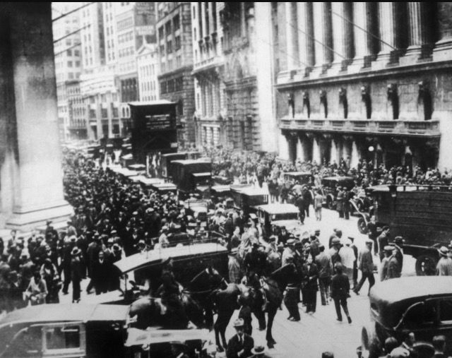 Stock market crash: October 24th 1929. This contributed to the Great Depression. It was a decline US stock market values