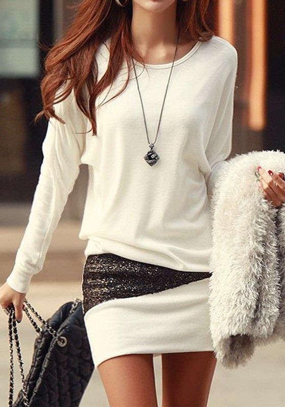 Business Lady Spring Style Outfit White Patchwork Sequin Long Sleeve Sexy Dress Look.