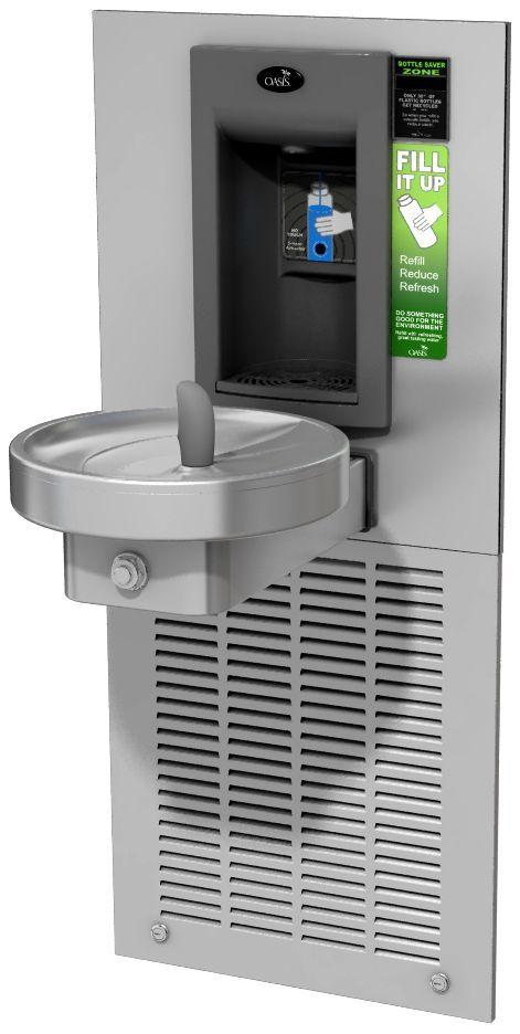 """""""Врезной"""" аппарат M8WREBFY для наполнения бутылок и безбарьерный круглый питьевой фонтанчик"""