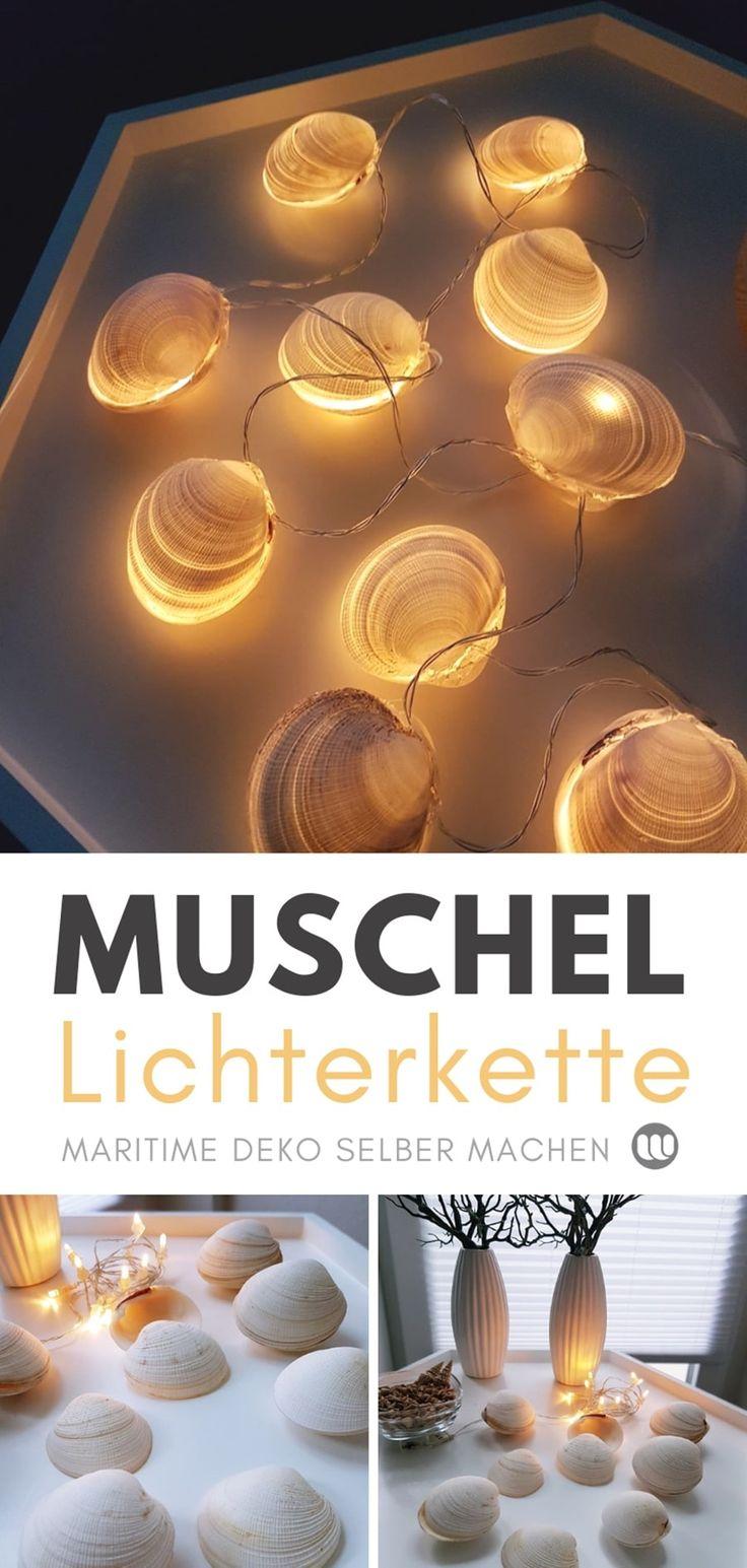 Muschel-Deko basteln im Sommer. Stimmungsvolle Tischdeko und Muschel-Lichterketten ganz einfach selber machen