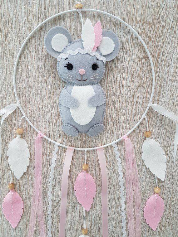 Baby mobile Dreamcatcher mouse grey felt, room Decoration baby or ... a91abfbfc03