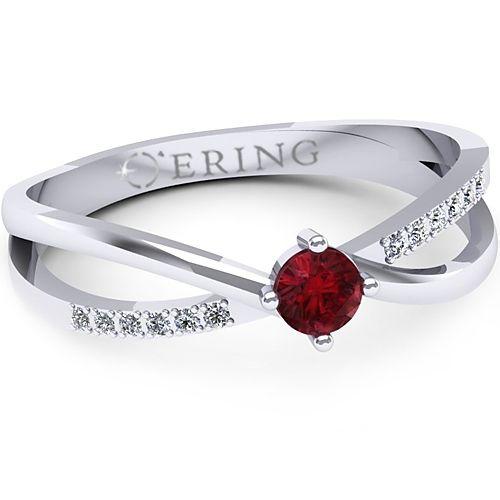 Inel logodna L124ARB inel cu diamant si rubin