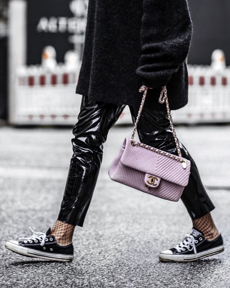 Patent leather trousers and soft pink Chanel bag!