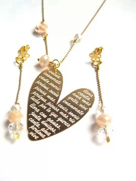 Mar Accesorios ♥ collar corazón grande citas positivas oro golfield #accesorios #accessories #aretes #earrings #collares #necklaces #pulseras #bracelets #bisuteria #jewelry #colombia #moda #fashion