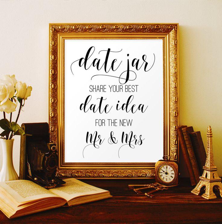 Date jar sign Date night jar sign Date night ideas Bridal shower ideas Date ideas Digital wedding decorations Wedding printable signs #vm21 by ViolaMirabilisPrints on Etsy