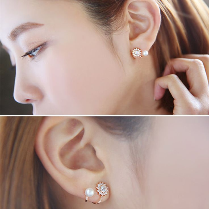 Stud Earrings  2015 new trendy earring bijoux jewelry wholesale Sweet rhinestone simulated pearl snowflake ear jacket earrings for women  ** AliExpress Affiliate's Pin. Click the VISIT button to enter the website