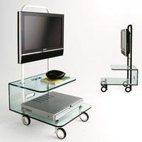 Tonelli - Pallet Glass TV Unit on Wheels