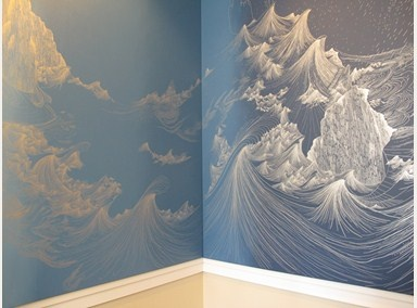 One Day, After the Rain by Sandra Cinto (2012) ink drawn wall mural