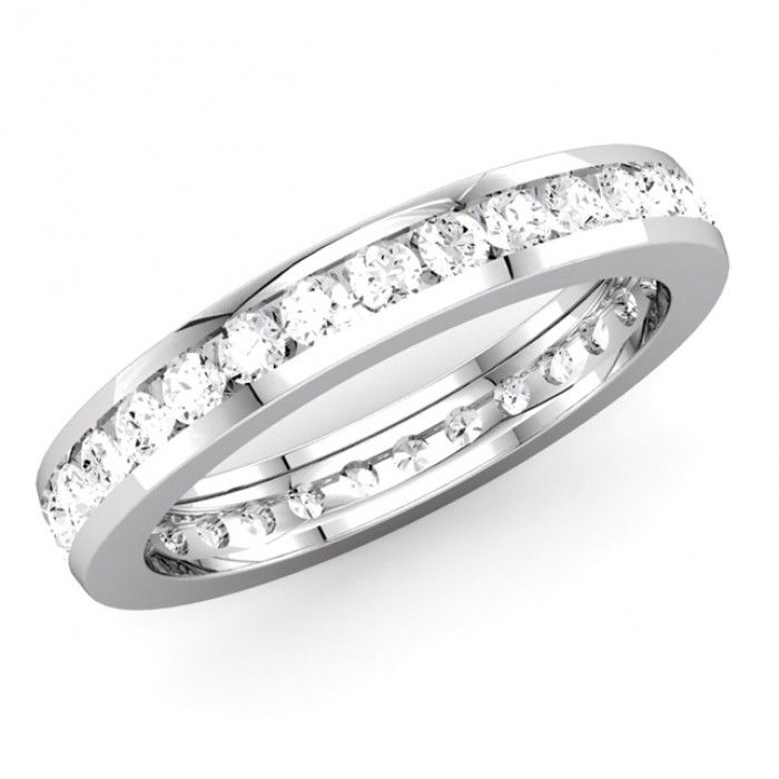Awesome Find Stylish Polished Shining with Comfort Fit of Channel Set Diamond Eternity Wedding Band