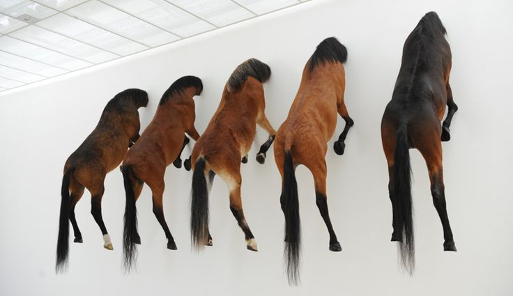 Maurizio Cattelan Titled, Kaputt, the five headless horses describe a scene from behind the German lines during WWII, in a book of the same name by writer Curzio Malaparte.