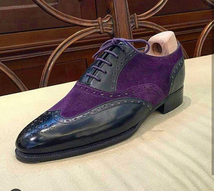 Black Purple Color Leather Suede Shoes