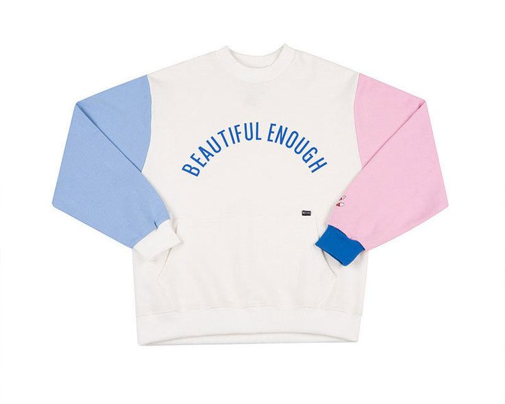 MIRINE Beautiful Enough Bowling Pins Embroidery COLOR BLOCK SWEAT SHIRT IVORY