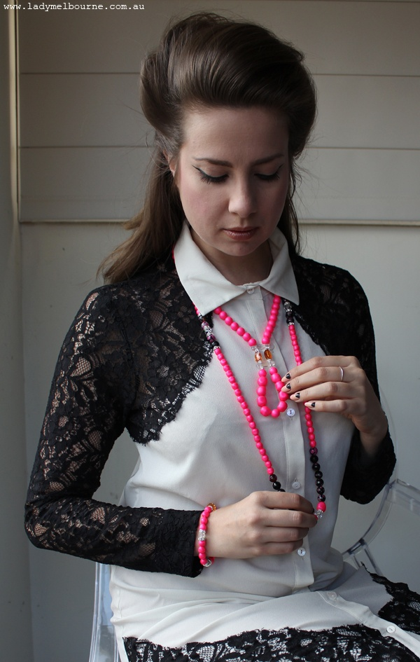 Lady Melbourne looking uber glam in her zabe.com.au neon jewellery