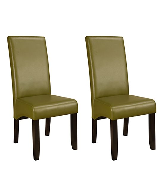 Green Faux Leather Tall Parson Chair Set Of Two Products