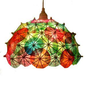 Light shade made from cocktail umbrellas