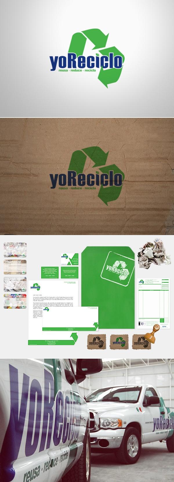 """empresa dedicada al reciclaje de distintos materiales.Se ve el simbolo de reciclaje, con una flecha menos ,dispuesto en una superficie de papel o madera, la tipografia es azul y semi-formal, el  fondo indica el tipo de material con el que la empresa trabaja , el simbolo de reciclaje nos muestra que la empresa solo desarrolla una parte del proceso de reciclaje y la tipo le da un toque mas informal ,por esto el nombre """"yo"""" reciclo, se identifica con la gente."""