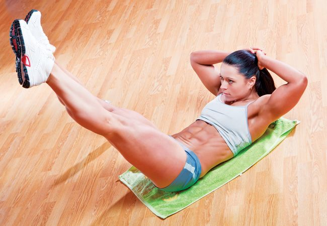 Vertical leg crunch   Get strong, defined abs with the vertical leg crunch. It's harder than it looks!