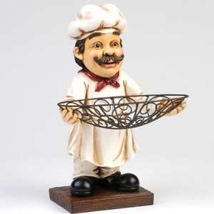 Chef Statue Standing Figure Wire Bowl Bistro French Italian Fun Kitchen  Decor