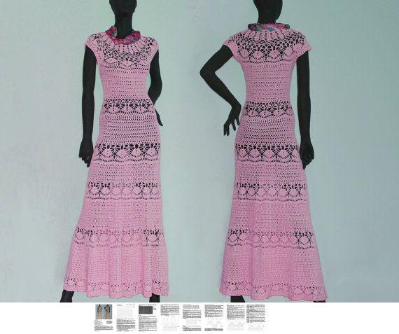 Maxi dress crochet PATTERN sizes XS-3XL