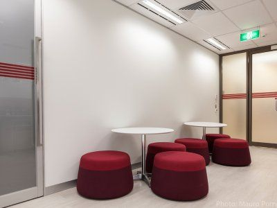 Defence Bank's breakout area brings a relaxing touch for employees.