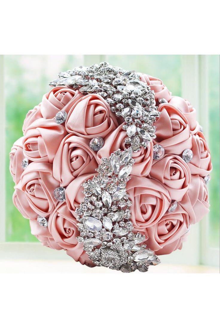 Gorgeous Crystal Wedding Bouquet Bridal Brooch Bouquet Wedding Accessories Bridesmaid Artificial Flower salmon Color