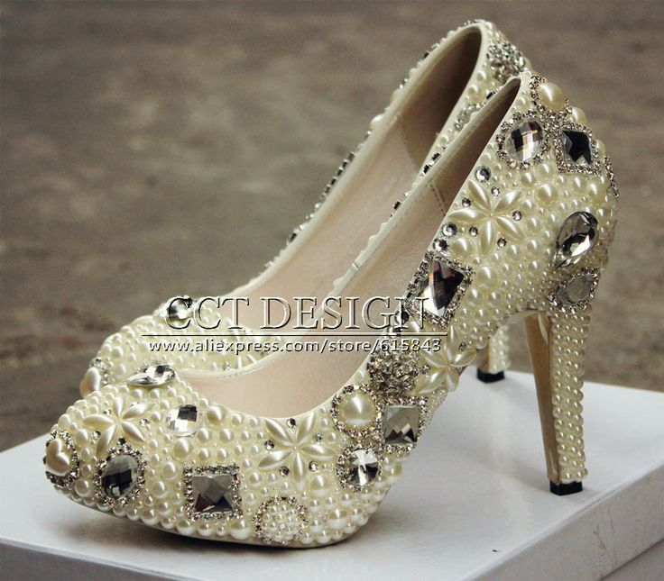 Handmade Women Crystals And Pearls Wedding Shoes Ivory Platforms High Heels Party Prom Wedding Pumps