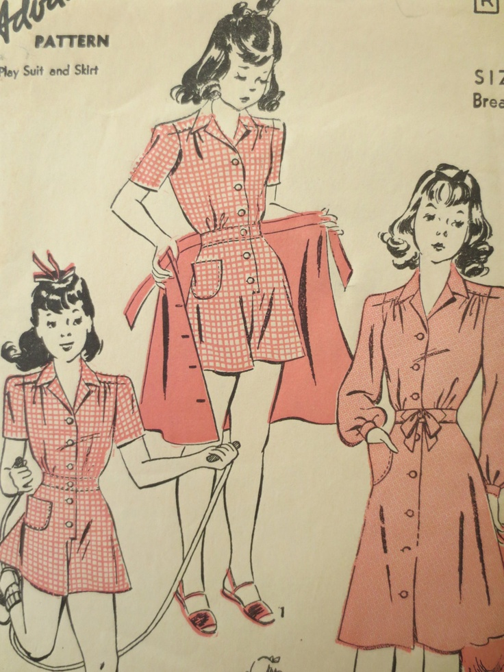 Vintage Advance 2762 Sewing Pattern, 1940s Girls Playsuit Pattern, Skirt Pattern, Play Suit Pattern, Vintage Size 6, Breast 24 Inches. $10.50, via Etsy.