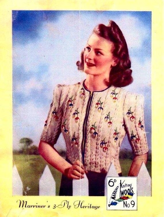 PDF Knitting pattern for a Tyrolean Design Jumper-Coat - 1940s