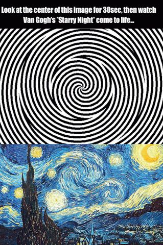 Look @ center of image for 30 sec n watch Van Gogh's 'Starry Night' come to life...