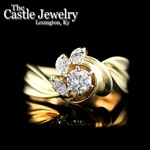 .65 CTTW 14 K Yellow Gold Ribbon Design Round Marquise Diamond Ring