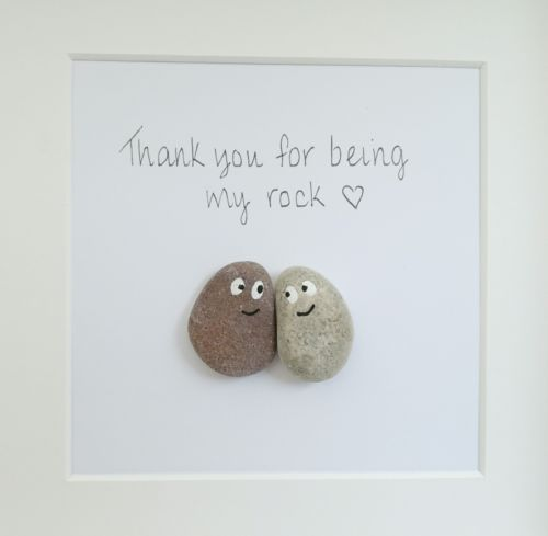 Pebble art picture wedding friends family Christmas gift handmade personalised