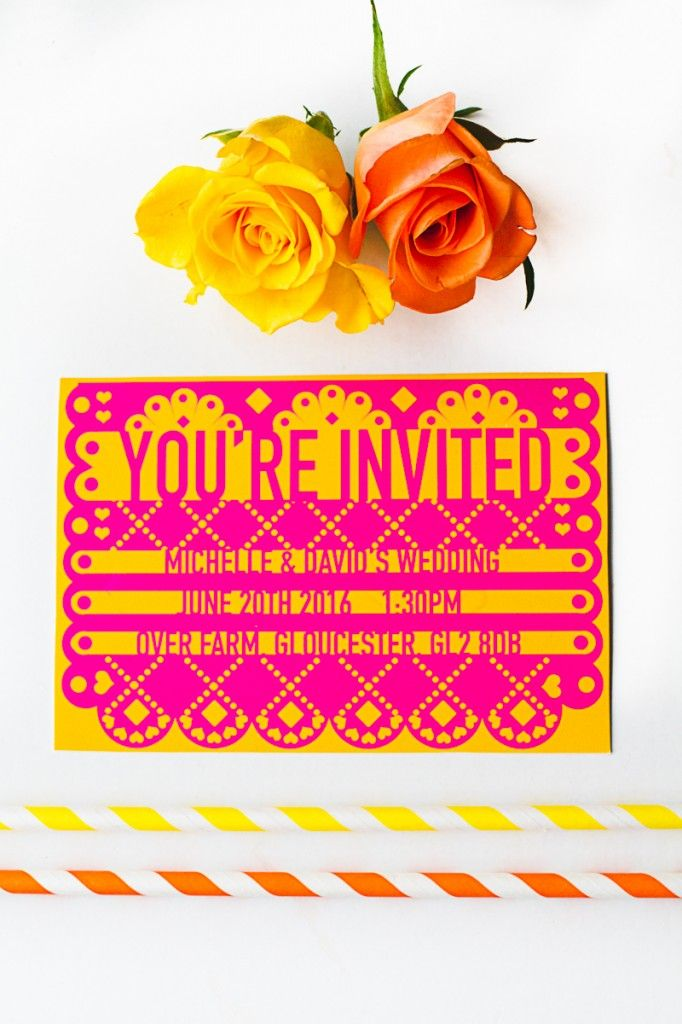 Grab yourself a FREE printable papel picado Mexican wedding invitation! Simply type in your wedding details and print, it really is that simple!