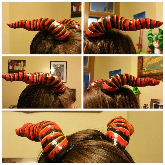 Brand hoorns, Dragon hoorns, duivel hoorns, Cosplay hoorns, kostuum hoorns, Anime hoorns, aangepaste, Halloween hoorns, handgemaakt, handbeschilderd, hoorns