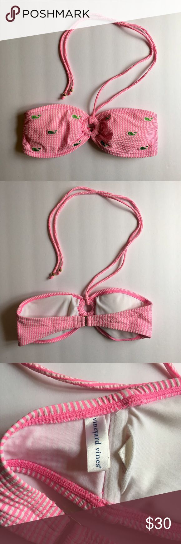 Vineyard Vines Seersucker Halter Bikini Top XXS This bikini top can be worn with the straps, or can be taken off to be strapless making it a bandeau. Complete your preppy look with this adorable top! Vineyard Vines Swim Bikinis