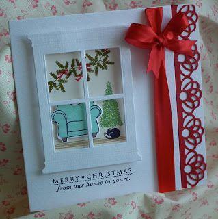 """Crafty sew""""n""""sew: Christmas window card"""