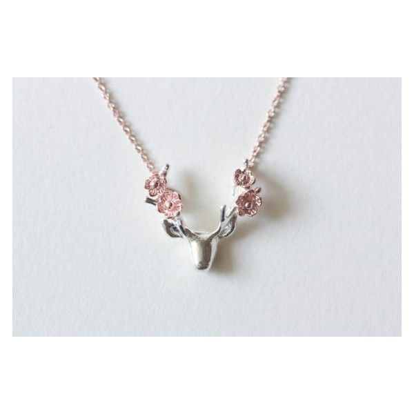 Flower deer statement necklace, antler necklace, rose gold necklace,... ❤ liked on Polyvore featuring jewelry, necklaces, rose gold statement necklace, silver flower necklace, pink gold necklace, deer necklace and flower jewellery