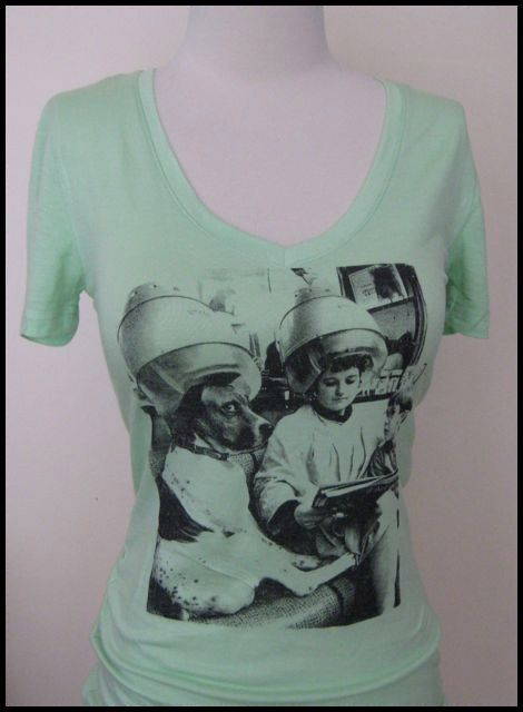 Fab retro print  Dog in the Salon  mint green tee by Curlytees