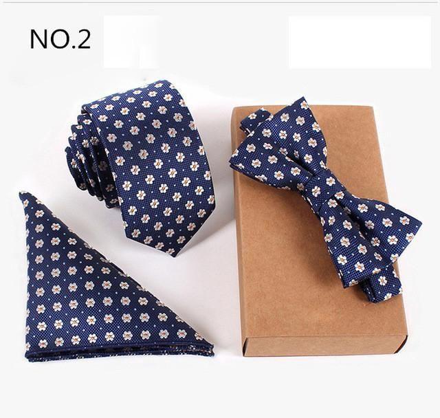 3pc set. Slim Tie, Pocket Square, and Bow tie