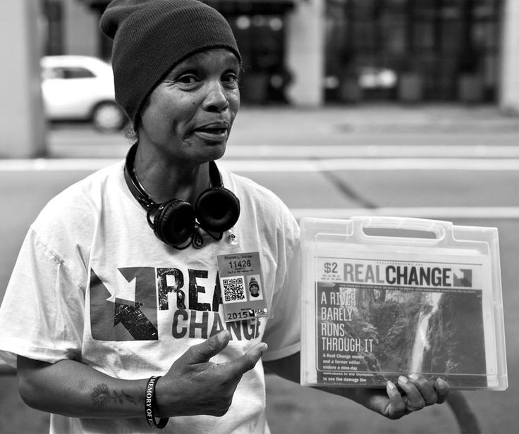 Sharon sells the REAL CHANGE newspaper out front of Top Pot Doughnuts at 2124 5th Avenue every morning but Wednesdays from 6:00-7:45AM, her spot for the last two years. At 7:45 she runs over to Buffalo Wild Wings to work the 8:00 to Noon shift. Top Pot loveLOVES her, they call her Miss REAL CHANGE and treat her as if she owns the place. She was REAL CHANGE VENDOR OF THE YEAR in 2012. REAL CHANGE 8/26/2015