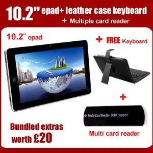 "Review 10.2"" 4GB Android Tablet epad PC 2.3 Android Tablet 1GHz WiFi 3G G-Sensor Youtube 10 inch Leather case keyboard + stylus + Multiple card reader - ZTE TABLET BEST REVIEW"