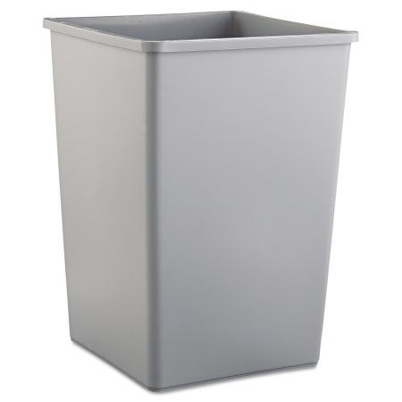 Rubbermaid Commercial Untouchable Waste Container, Square, Plastic, 35gal, Gray