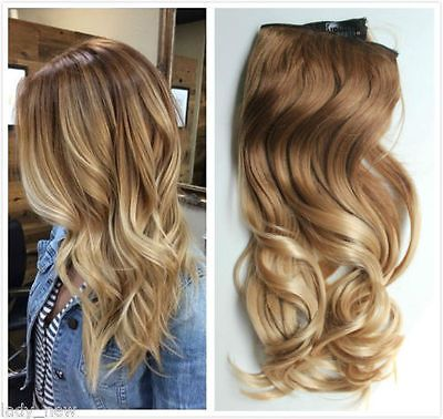 """17"""" 20"""" 22"""" Full Head Thick One Piece Clip in Hair Extensions Dipdye Ombre, Gift"""